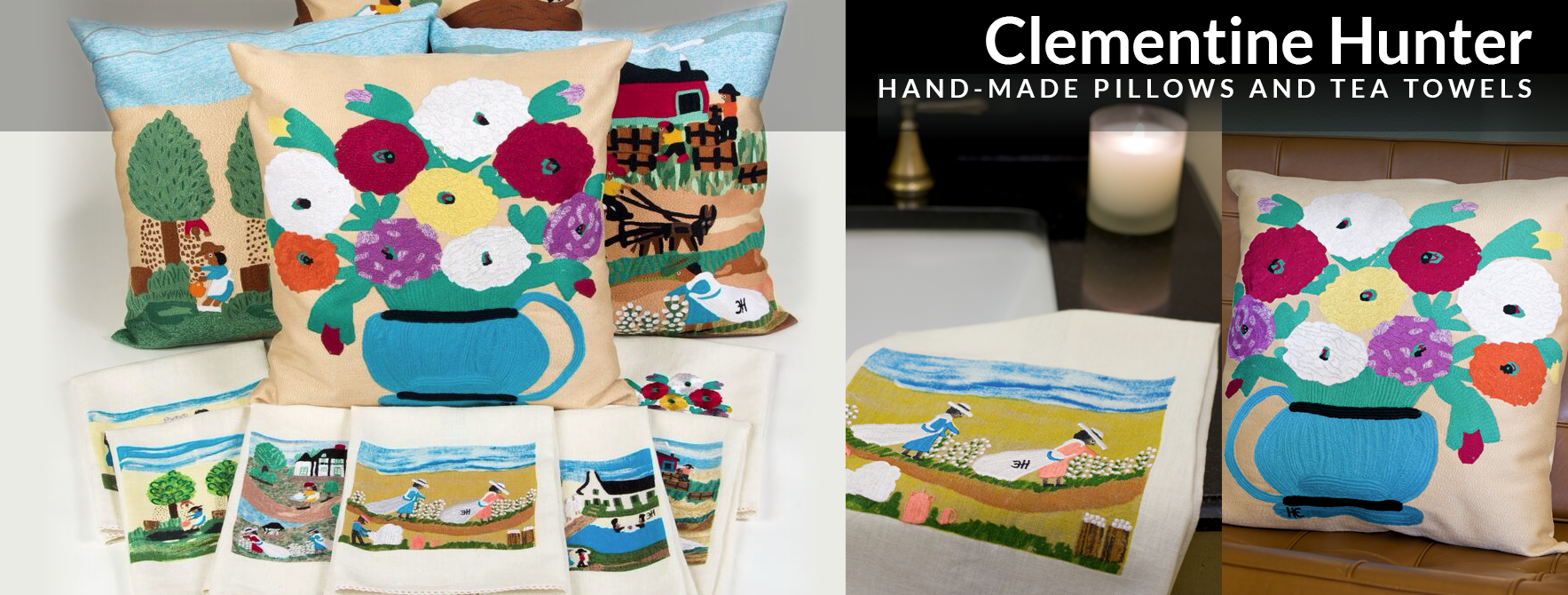 Clementine Hunter: Hand-Made Pillow and Tea Towels